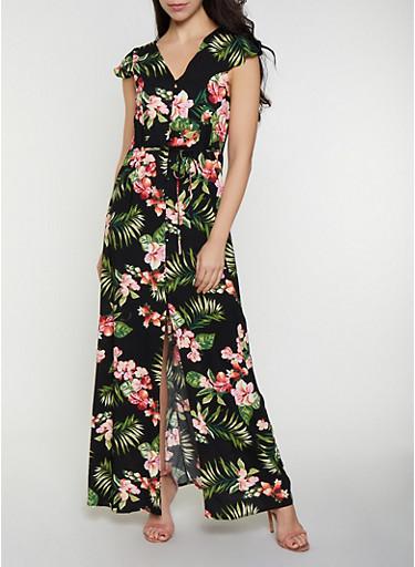 Tropical Floral Button Front Maxi Dress,BLACK,large