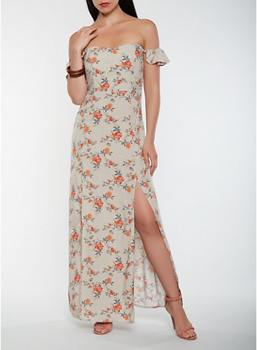 Floral Off the Shoulder Maxi Dress,TOWN TAUPE,large