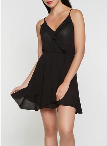 Faux Wrap Ruffle Dress,BLACK,large
