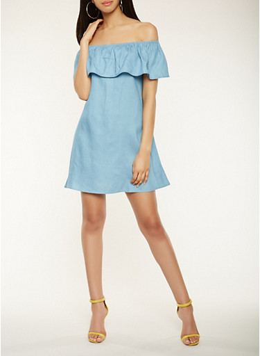 Ruffled Chambray Off the Shoulder Dress,BLUE,large