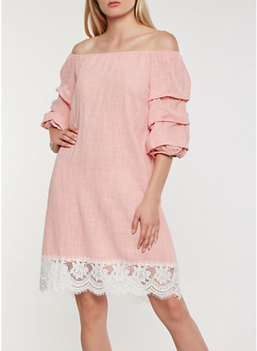 Off the Shoulder Lace Trim Dress,MAUVE,large