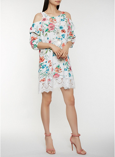 Floral Cold Shoulder Dress with Necklace,TURQUOISE,large
