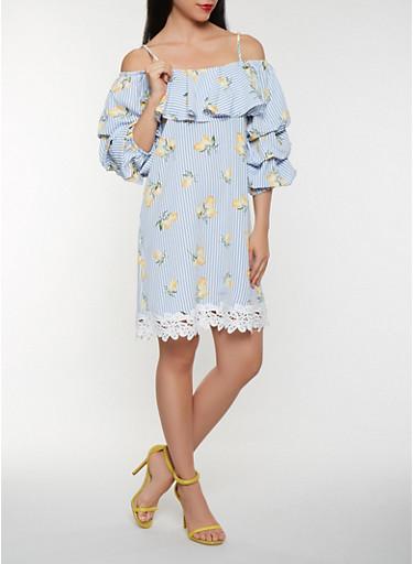 Lemon Print Off the Shoulder Dress,BLUE,large