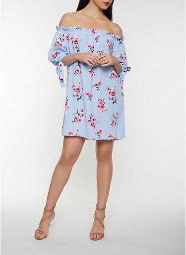 Floral Striped Off the Shoulder Shift Dress,WHITE/BLUE,large