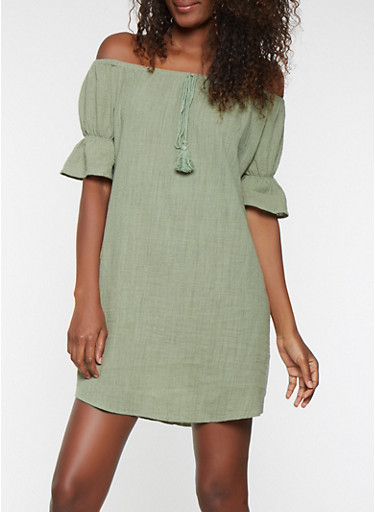Off the Shoulder Ruffle Sleeve Dress,SAGE,large