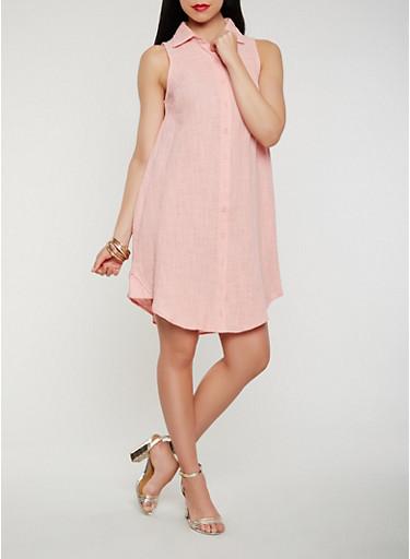 Sleeveless Linen Shirt Dress,MAUVE,large