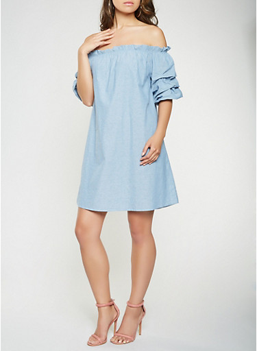 Off the Shoulder Chambray Dress,BLUE,large