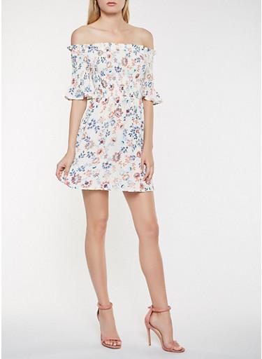 Printed Off the Shoulder Dress,BONE,large