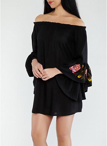Embroidered Off the Shoulder Dress,BLACK,large