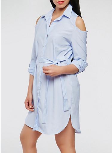 Striped Cold Shoulder Dress,WHITE/BLUE,large