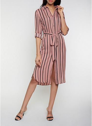 Striped Shirt Midi Dress,MAUVE,large