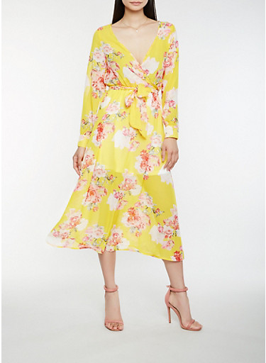 Floral Faux Wrap Midi Dress,GOLD,large
