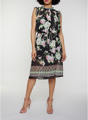 Floral Border Print Shift Dress,BLACK,large