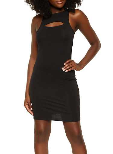 Keyhole High Neck Tank Dress,BLACK,large