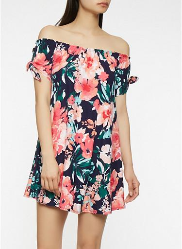Printed Off the Shoulder Dress,NAVY,large