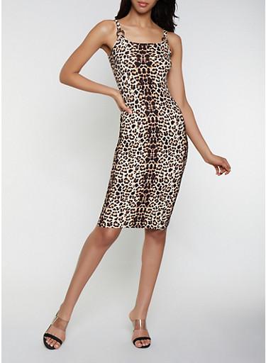 Printed Scoop Neck Tank Dress,BLACK,large
