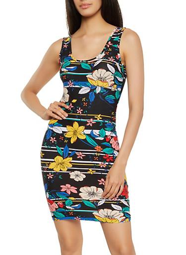 Printed Bodycon Dress,BLACK,large