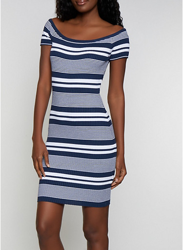 Striped Rib Knit Midi Bodycon Dress,NAVY,large