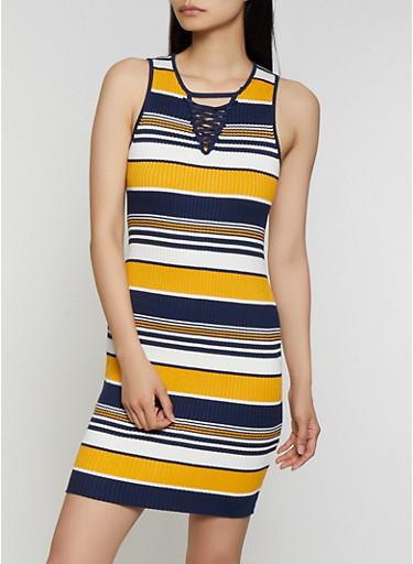 Striped Lace Up Rib Knit Tank Dress,GOLD,large
