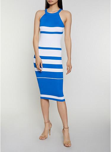 Sleeveless Striped Rib Knit Dress,RYL BLUE,large
