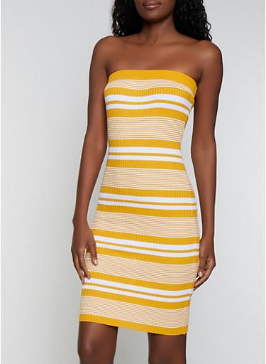 Rib Knit Striped Tube Dress,GOLD,large