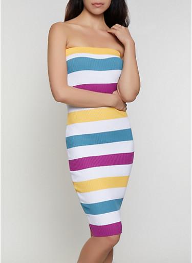 Striped Rib Knit Tube Dress | 0094034281836,WHITE,large