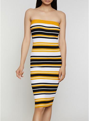 Striped Rib Knit Tube Midi Dress,BLACK/WHITE,large