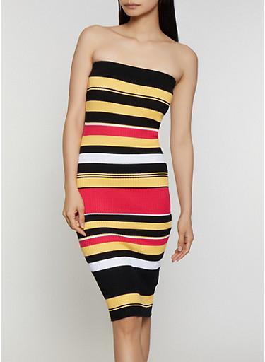 Rib Knit Striped Tube Midi Dress,PINK,large