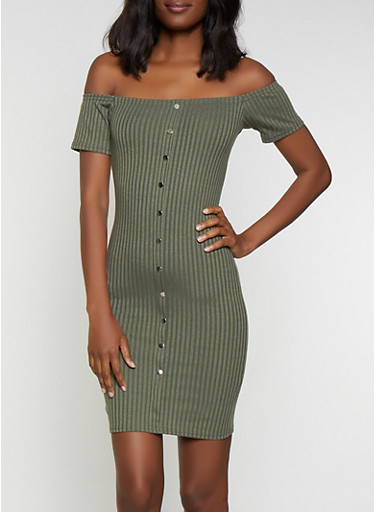 Button Off the Shoulder Bodycon Dress,OLIVE,large