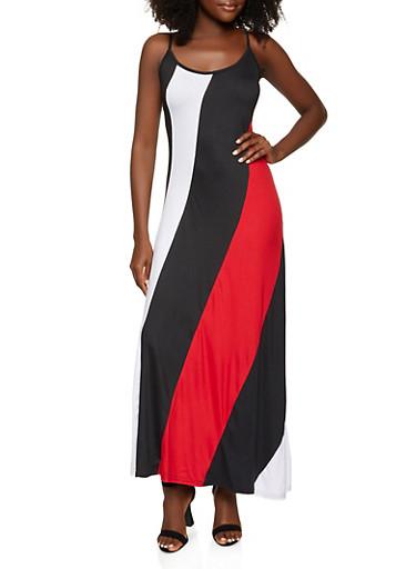 Color Blocked Cami Maxi Dress,BLACK/WHITE,large