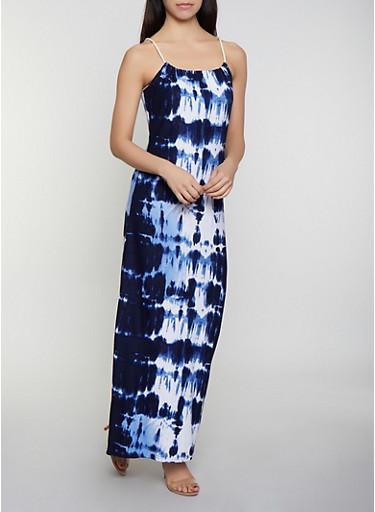 Tie Dye Keyhole Back Maxi Dress,NAVY,large