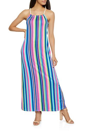 Rope Strap Maxi Dress,BLUE,large