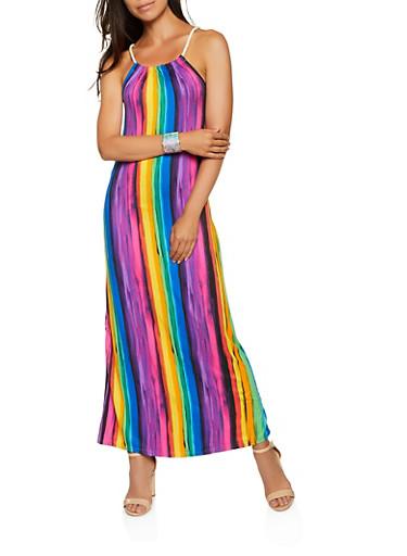 Vertical Striped Rope Strap Maxi Dress,BLACK,large