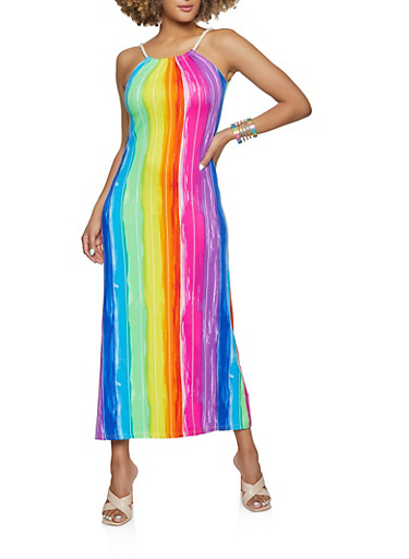 Rainbow Striped Rope Strap Maxi Dress,MULTI COLOR,large