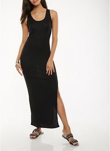 Caged Back Maxi Tank Dress,BLACK,large