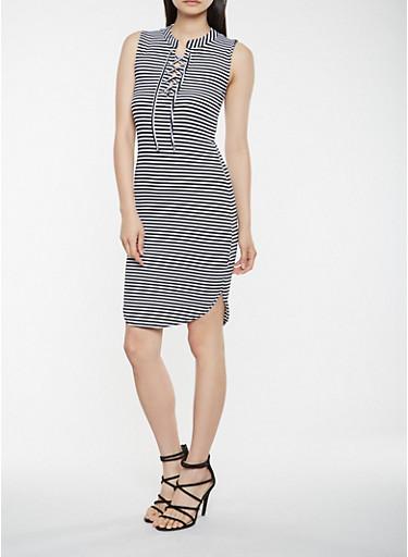 Striped Lace Up Tank Dress,BLACK/WHITE,large