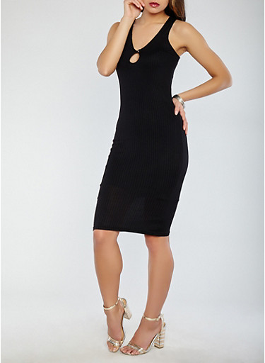 Ribbed Knit Keyhole Midi Dress,BLACK,large