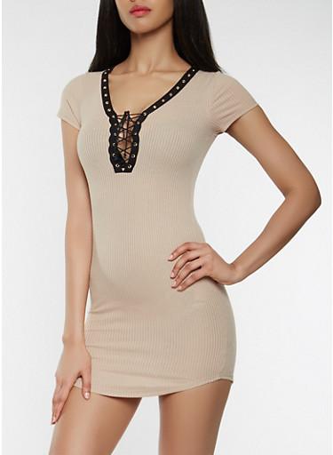 Plunge Lace Up T Shirt Dress,KHAKI,large
