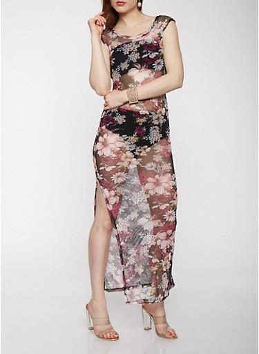 Floral Mesh Maxi Dress,BLACK,large