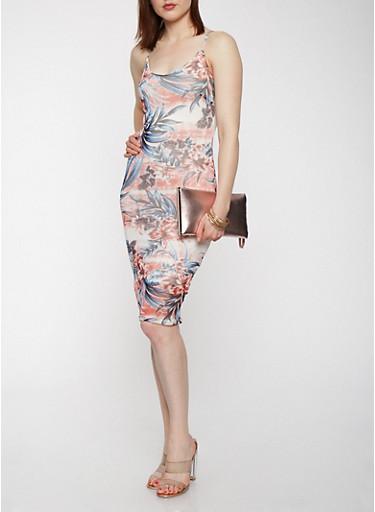 Floral Mesh Tank Dress,CORAL,large