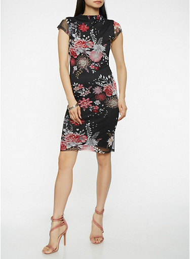 Floral Mesh Bodycon Dress,BLACK,large