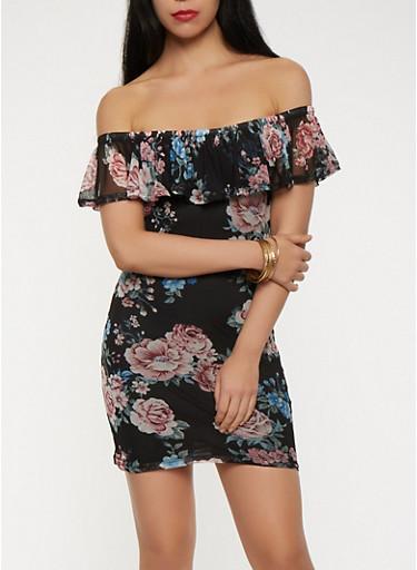 Floral Mesh Off the Shoulder Dress | Tuggl