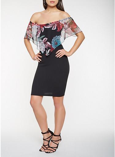 Floral Overlay Off the Shoulder Dress,BLACK,large