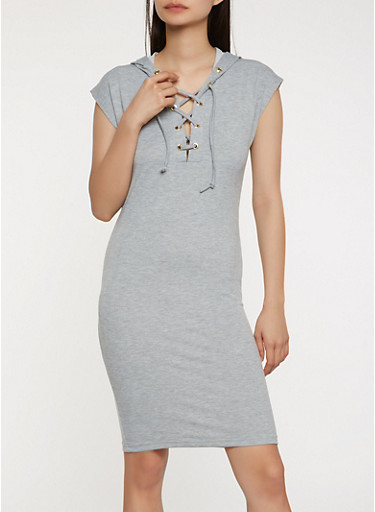 Lace Up Hooded Tank Dress,HEATHER,large