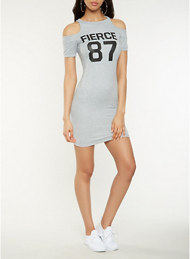 Fierce Graphic Cold Shoulder Dress,HEATHER,large