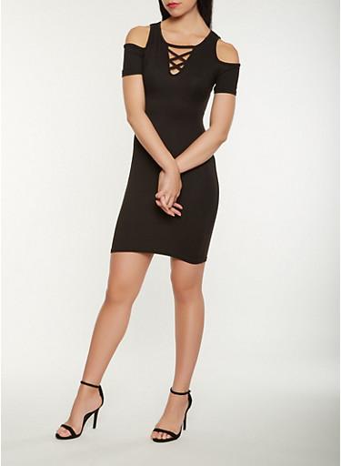 Lace Up Cold Shoulder Dress,BLACK,large