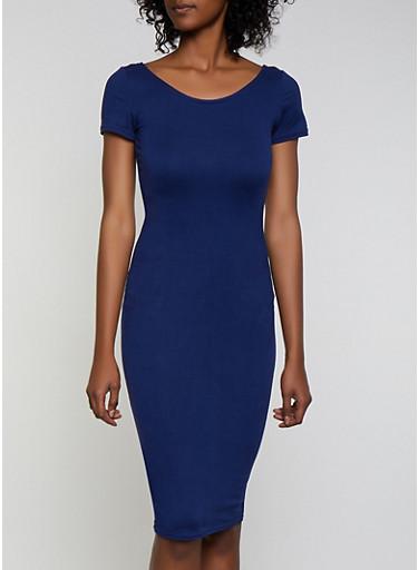 Scoop Back Soft Knit Dress,NAVY,large