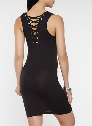 Lace Up Back Tank Dress,BLACK,large