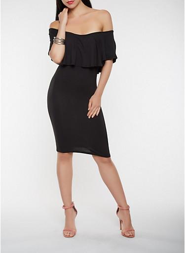 Ruffled Off the Shoulder Midi Dress,BLACK,large