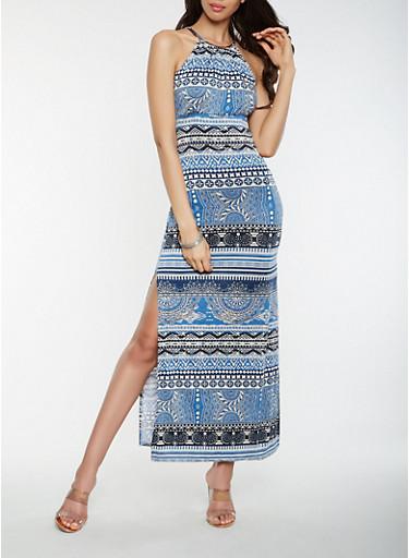 Printed Metallic Neck Tank Maxi Dress,DENIM,large